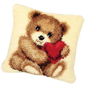 Handmade Latch Hook Rug Making Kit Bear Love Cross Stitch Cushion Crafts