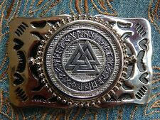 NEW NORDIC VIKING SYMBOLS VALKNUT BELT BUCKLE SILVER COLOUR METAL WESTERN HEART