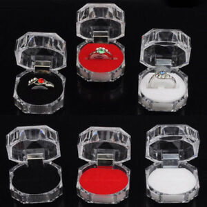 Wholesale 20Pcs Plastic Clear Crystal Jewelry Ring Display Storage Boxes