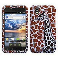 For LG Marquee HARD Protector Case Snap on Phone Cover Brown Giraffe Single
