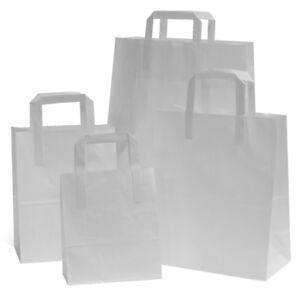 "Medium White Kraft Paper Flat Handles Party Bags Takeaway Weddin 22"" x 25"" x 11"""