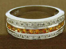 R167 - 9ct SOLID  White Gold Natural Yellow Sapphire & DIAMOND Eternity Ring