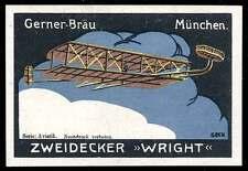 Germany Poster Stamp - Adv. Gerner-Bräu Beer - Aviatik - Wright Two-Decker