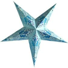"24"" Pale Turquoise Lotus Glitter Paper Star Lantern, Hanging Decoration"