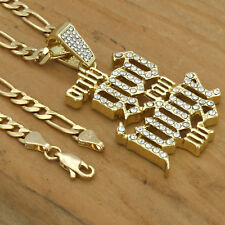 """14k Gold Plated Cz Only God Can Judge Me Hip Hop Pendant 24"""" Figaro Chain"""
