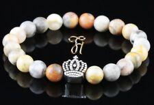 Marble Agate 8mm Bracelet Pearl Bracelet Silver Coated Crown