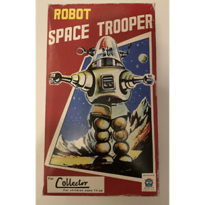 Space Trooper Robot Limited Edition  - Tin Toy Crank Wind BLACK HA-HA Toy TR2007