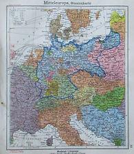 Mitteleuropa Staatenkarte - alte Karte Landkarte aus 1922 old map