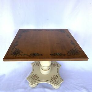 ETHAN ALLEN White Hitchcock Style 20in Stenciled End Accent Table 14-9218 604