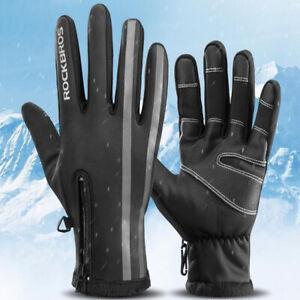 ROCKBROS Winter Full Finger Warm Thermal Reflective SKI &Motorcycle Gloves Black