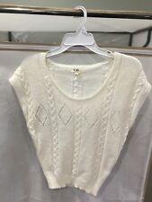 XXI Boutique Sleeveless Woven Knit White Top Sweater Size S/P Small Petite