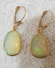 14k Yellow Gold Earrings with Opal Stones 16×12 mm