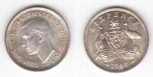 AUSTRALIA SILVER 6 SIXPENCE AU-UNC COIN 1945 YEAR KM#38 GEORGE VI