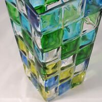 Vintage Vase Stained Glass Style Pattern Hand Blown 6 x 4 inches