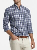 NWT $148 Peter Millar Dress Shirt Linen Blend Plaid Blue Long Sleeve XL