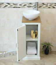 Solid Oak Top Bathroom Vanity | White Painted Cloakroom Unit | Sink Tap & Plug