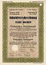 BOCHUM Gold Schuldverschreibung hist. 1H Anleihe 1929 Ruhrgebiet Westfalen NRW