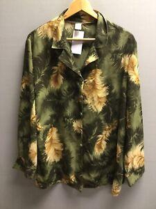 Womens Vintage Feather Pattern Shirt XXL Oversized