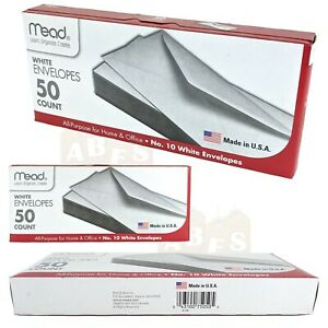 "Mead No 10 Plain White Envelopes, 4-1/8"" W x 9-1/2"" L, Gummed, 50ct Box"