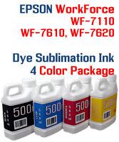 Dye Sublimation Ink 4- 500ml bottles Epson WorkForce WF 3620 3640 7110 7610 7620