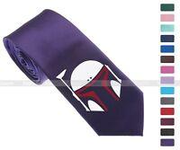 "Star Wars BOBA FETT Red Helmet Skinny Slim Men Woven Silk 2.5"" Tie Necktie K54"