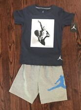 New Boy's Nike Air Jordan Fleece Shorts & Tee Short Set Size 6