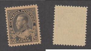 MNH Canada 50c Black Brown KGV Admiral - Dry Printing #120 (Lot #20140)