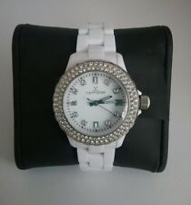 TOY (Brand Name) WATCH LARGE - WOMENS QUARTZ PLASTERAMIC STONES WHITE - BLING