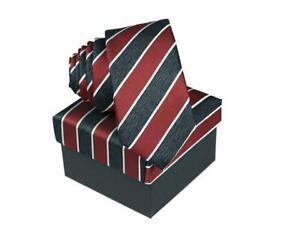 COLLECION ADAM Burgundy Striped Tie In Matching Presentation Box