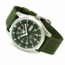 Seiko 5 Automatic Mens Watch Military Green Skeleton Back SNZG09K1 UK Seller