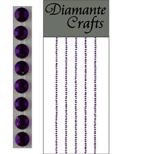 300 x 1mm Purple Diamante Self Adhesive Strips Rows Rhinestone Craft Gems
