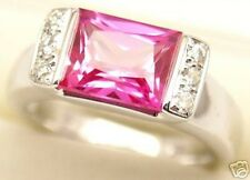 Lab Created Pink Sapphire Silver Ring #92, September