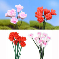 20x Miniature Red & Pink Rose Flower Bonsai Crafts Garden Landscape Decor