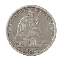 Raw 1842 Seated Liberty 50C Uncertified Ungraded US Mint Silver Half Dollar Coin