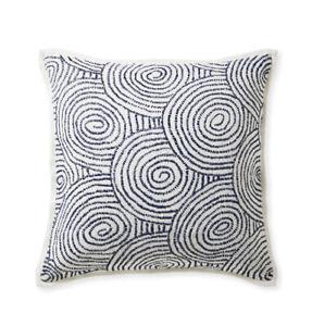 Serena & Lily Ibiza Pillow Cover White 100% Linen Woven Blue Raffia 22 X 22