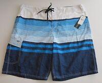 NWT O'Neill Men's 40 Castaway 2 Blue White Stripe Surf Board Shorts Beach