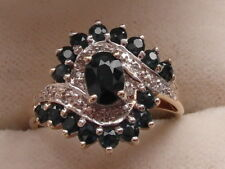 Q98 Ladies 9ct gold Sapphire and Diamond large cluster ring size M