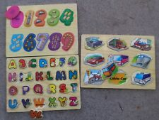 Wooden Puzzles - Educational Lot of 3 Numbers Letters Vehicles Preschool Kids