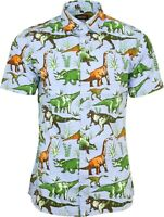 Run & Fly Mens Dinosaur Adventure Print Short Sleeved Shirt Retro Kitsch 50s 60s