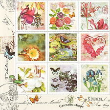 4x Paper Napkins for Decoupage Decopatch Craft Vintage Stamps
