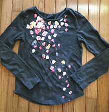 Gap Girls Gray Long Sleeved T-shirt w/ Floral Graphic, Size L 10