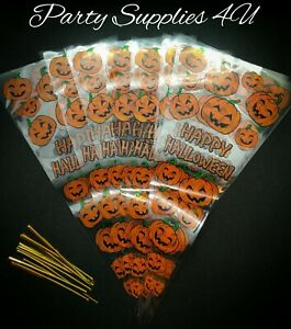Pumpkin triangle/cone cello bags 10pk party/sweets/candy/Halloween/trick/popcorn
