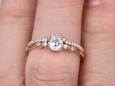 Set 14k Rose Gold Over 925 Silver 0.7ct Moissanite & Sim Dia Bridal Ring Band