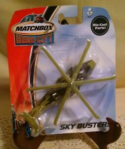 MATCHBOX HERO CITY SKY BUSTERS MILITARY HELICOPTER GREEN HAZARD 2003 NEW MATTEL.