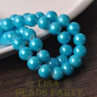 New 25pcs 8mm Round Silver Dust Glass Charms Loose Spacer Beads Lake Blue