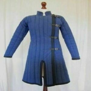 Thick Padded Blue Medieval Gambeson Suit Of Quilted Costumes Sca Larp