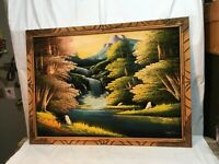 Vtg Oil Painting on Black  Wilderness Mountains Stream Waterfall  Woods  39x28