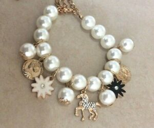 Betsey Johnson Pearl Charm Bracelet Brand New Perfect Gift Beauty!