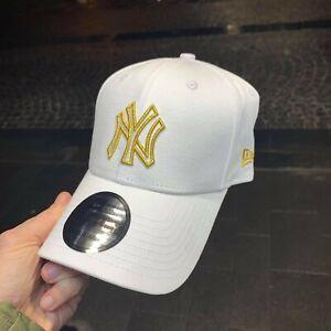 CAPPELLO NEW ERA New York Yankees Tela bianco regolabile logo oro adjustable