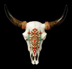 Rilievo Parete Bufalo Teschio - Indiano Motivo - Decorazione Testa di Animale